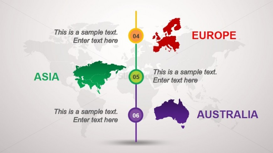 Europe, Asia & Australia Map Slide Design for PowerPoint