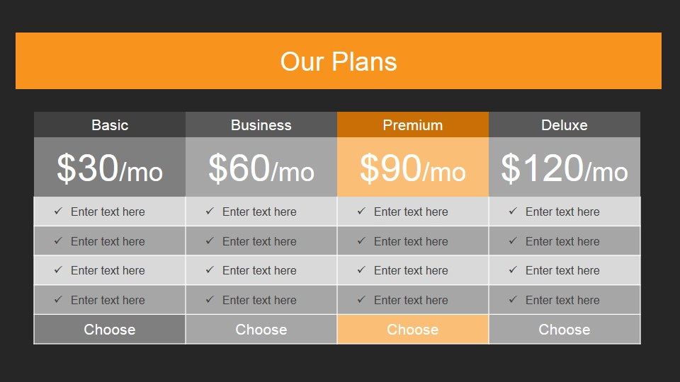 Product Plans Price PowerPoint Slide Design