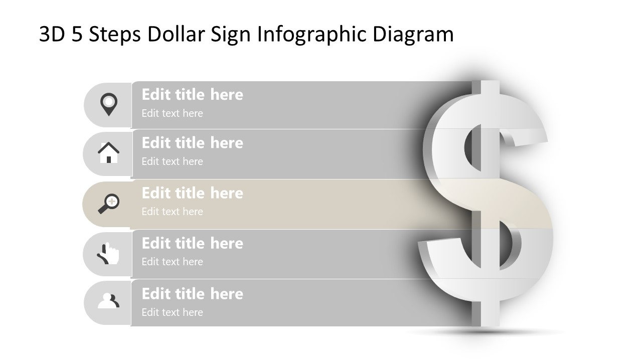 Infographic Diagram Step 3 Dollar Sign PPT