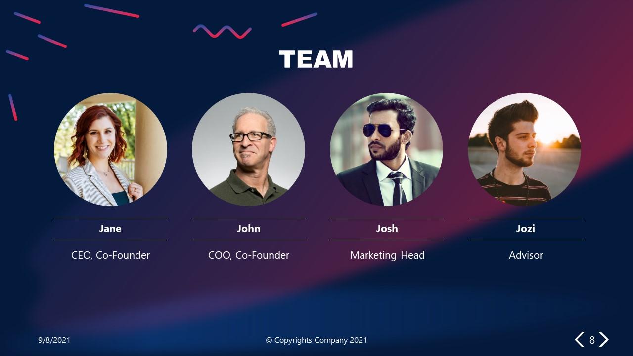 PowerPoint Elevator Pitch Team Slide