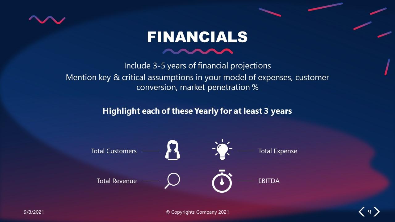 PowerPoint Elevator Pitch Financials Slide