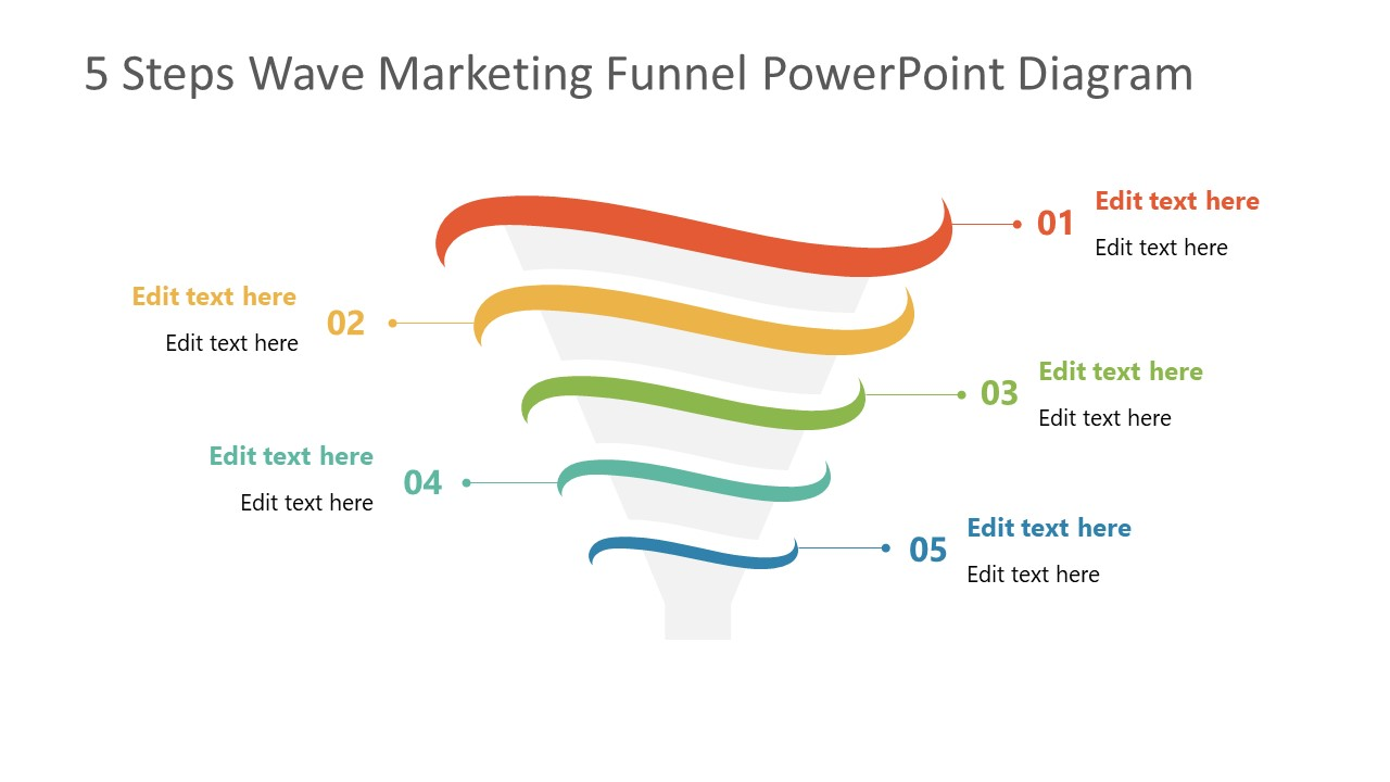 PowerPoint Funnel Diagram 5 Steps Template