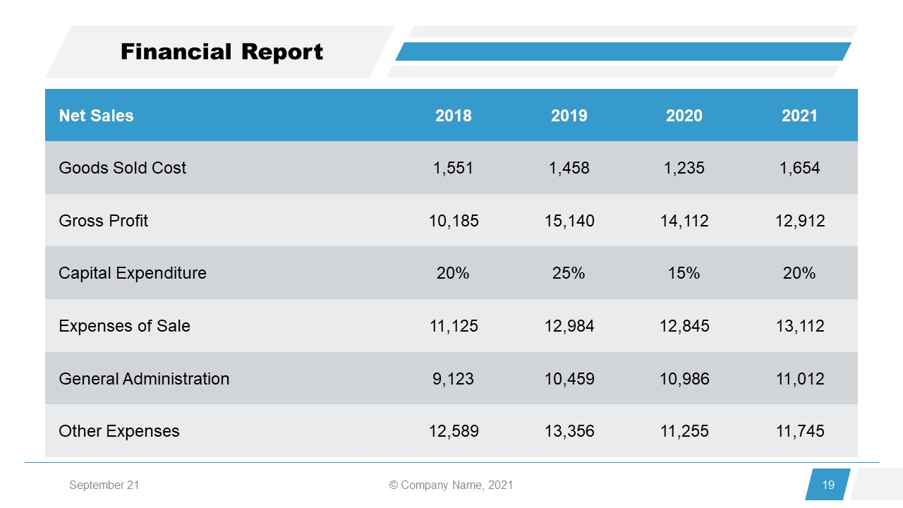Corporate Annual Report Template of Financial Report
