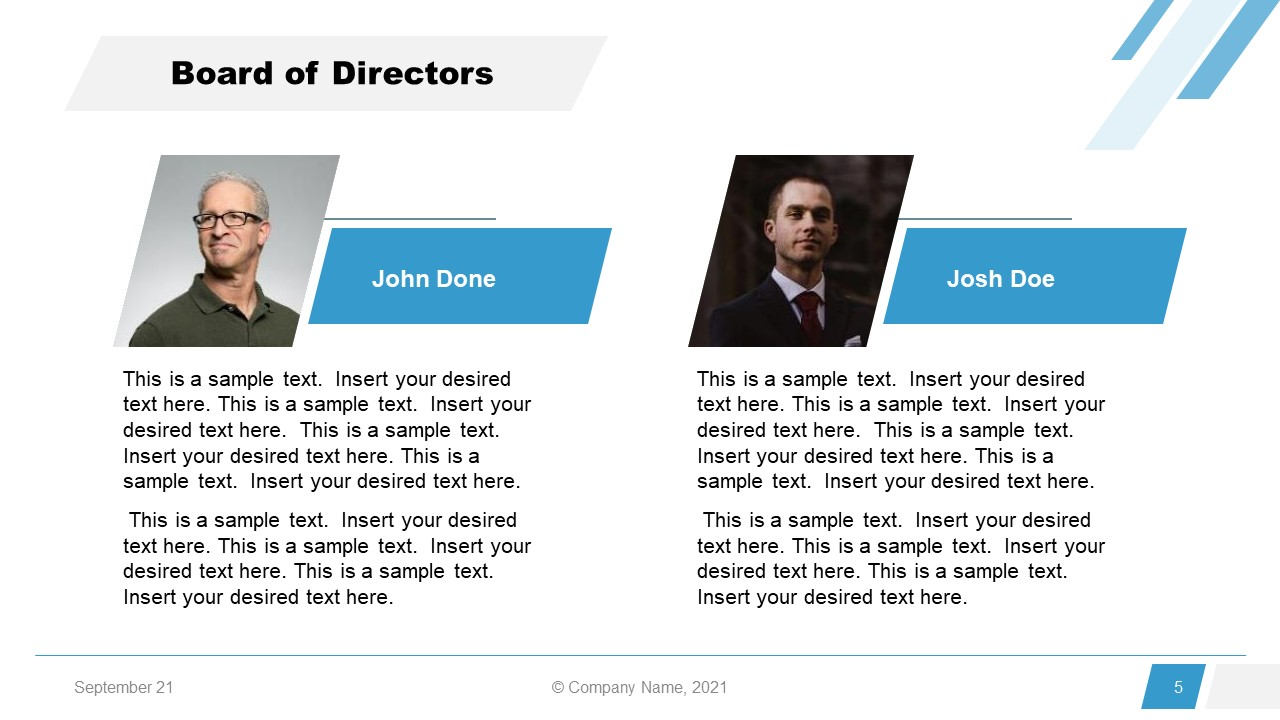 Corporate Annual Report Template of Directors Introduction