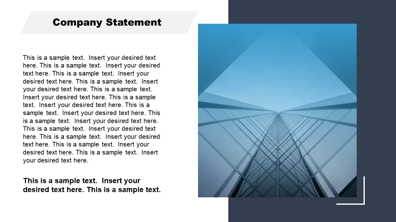 Corporate Annual Report Template of Company Statement