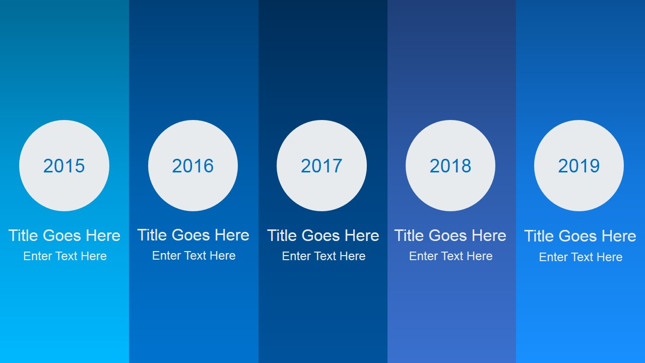 Animated blue gradient powerpoint template slidemodel animated timeline for powerpoint with circles and 5 milestones toneelgroepblik Images