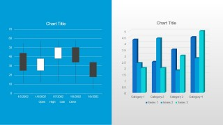 Data Chart Slides for PowerPoint with Bar Chart & Candlestick Chart