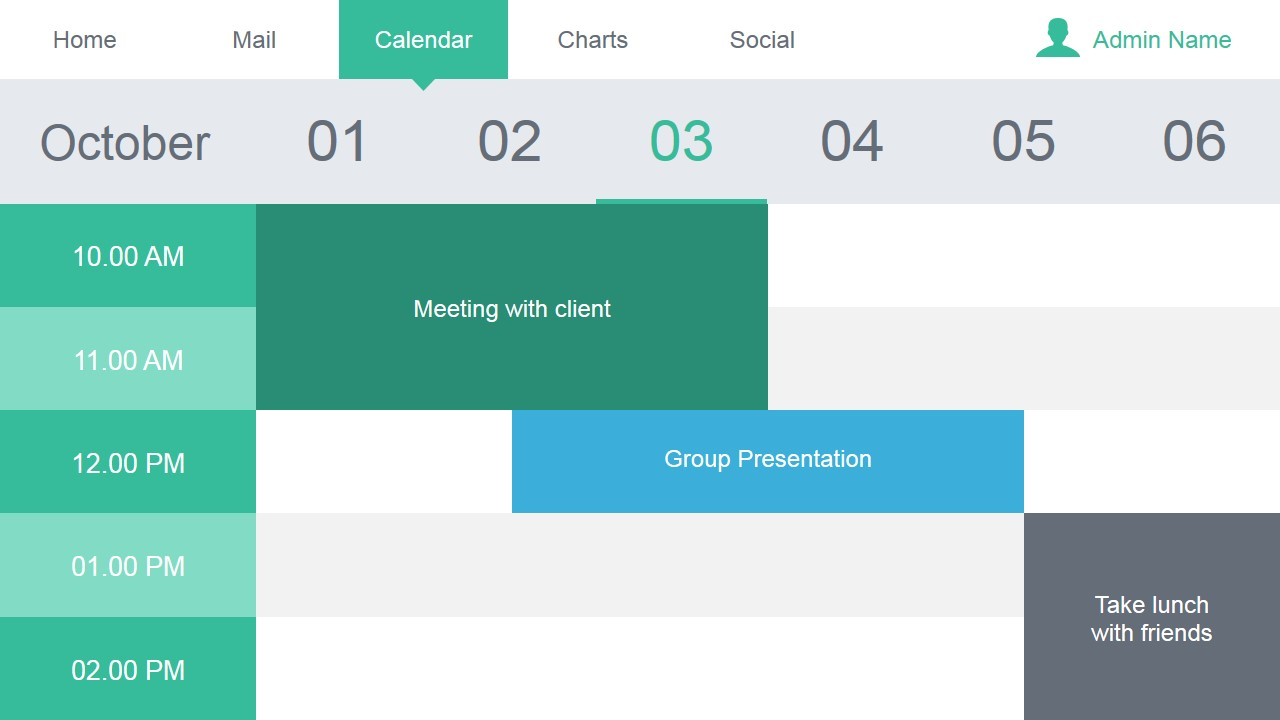 Calendar Slide Design For Data Dashboard Slidemodel