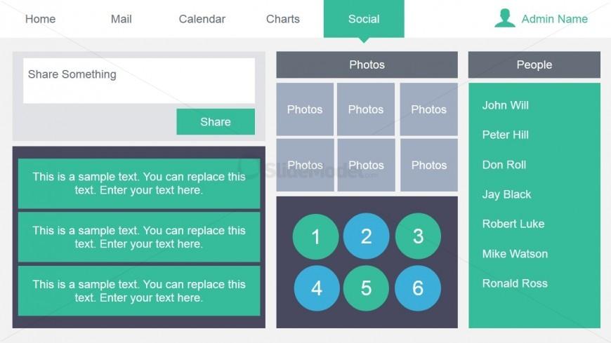 Social Media Dashboard Design for PowerPoint
