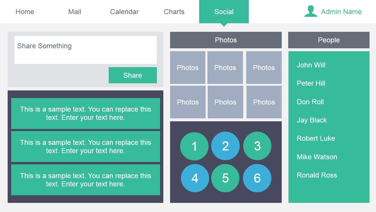 Admin dashboard powerpoint template slidemodel social media dashboard design for powerpoint toneelgroepblik Gallery