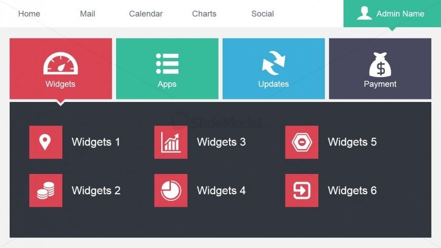 Admin Data Dashboard Design for PowerPoint