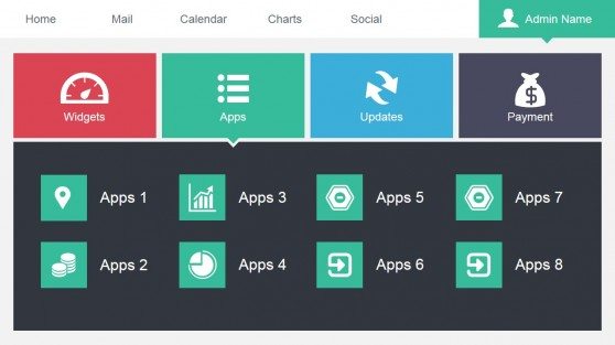 Data Dashboard Apps Menu Slide