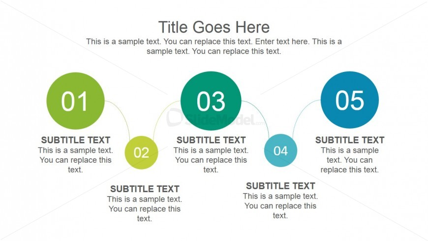 5 Steps Timeline Design for PowerPoint with Flat Style created with Circles