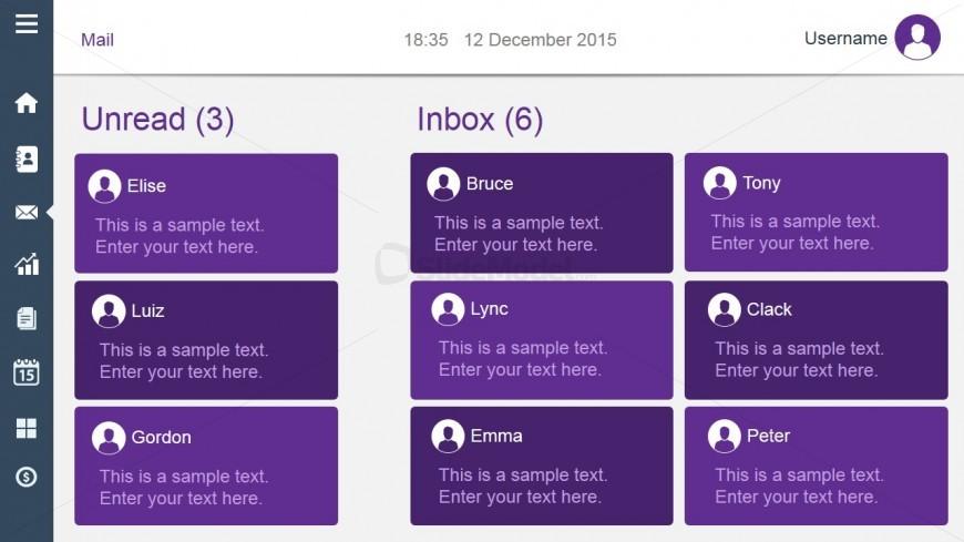 Unread Inbox Dashboard Slide Design Violet Style