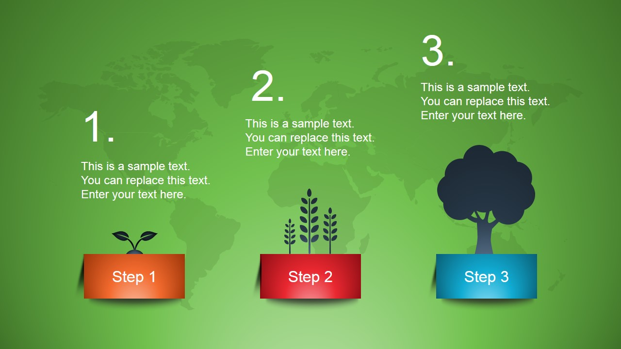3 Steps Growing Slide Design for PowerPoint
