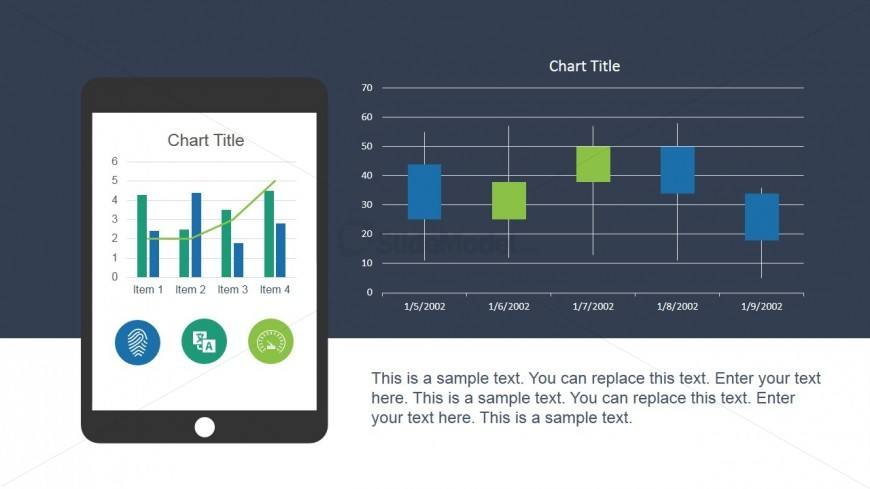 Technology Mobile Screen for PowerPoint with Candle Chart