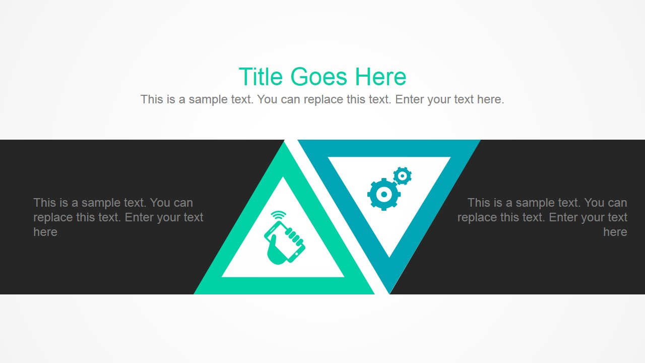 PowerPoint Layout For Opposing Ideas with Triangular Flat Shapes