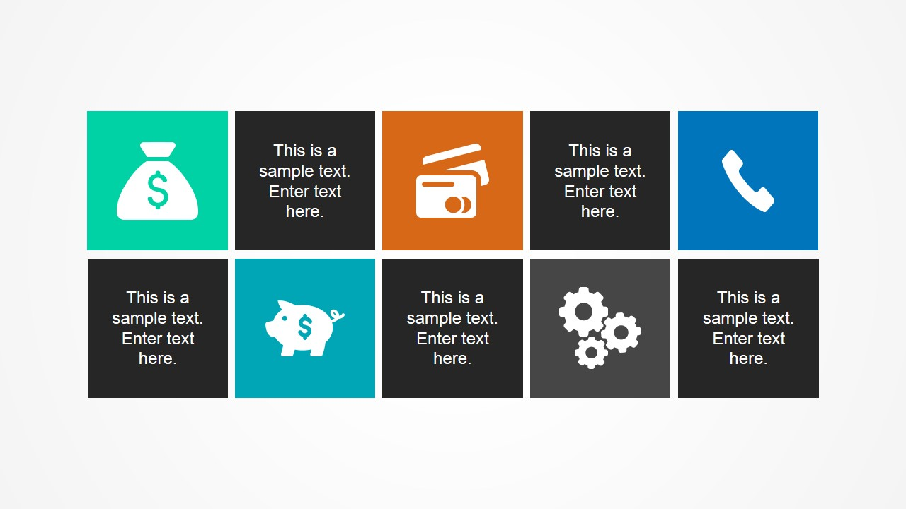PowerPoint Layout with Squares & Icons