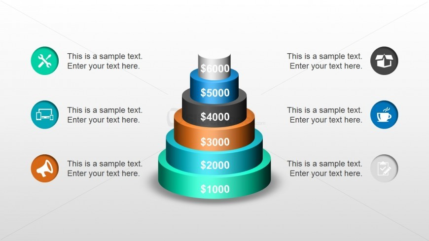3D Multi-Level Circular Base Stacked Diagram for PowerPoint