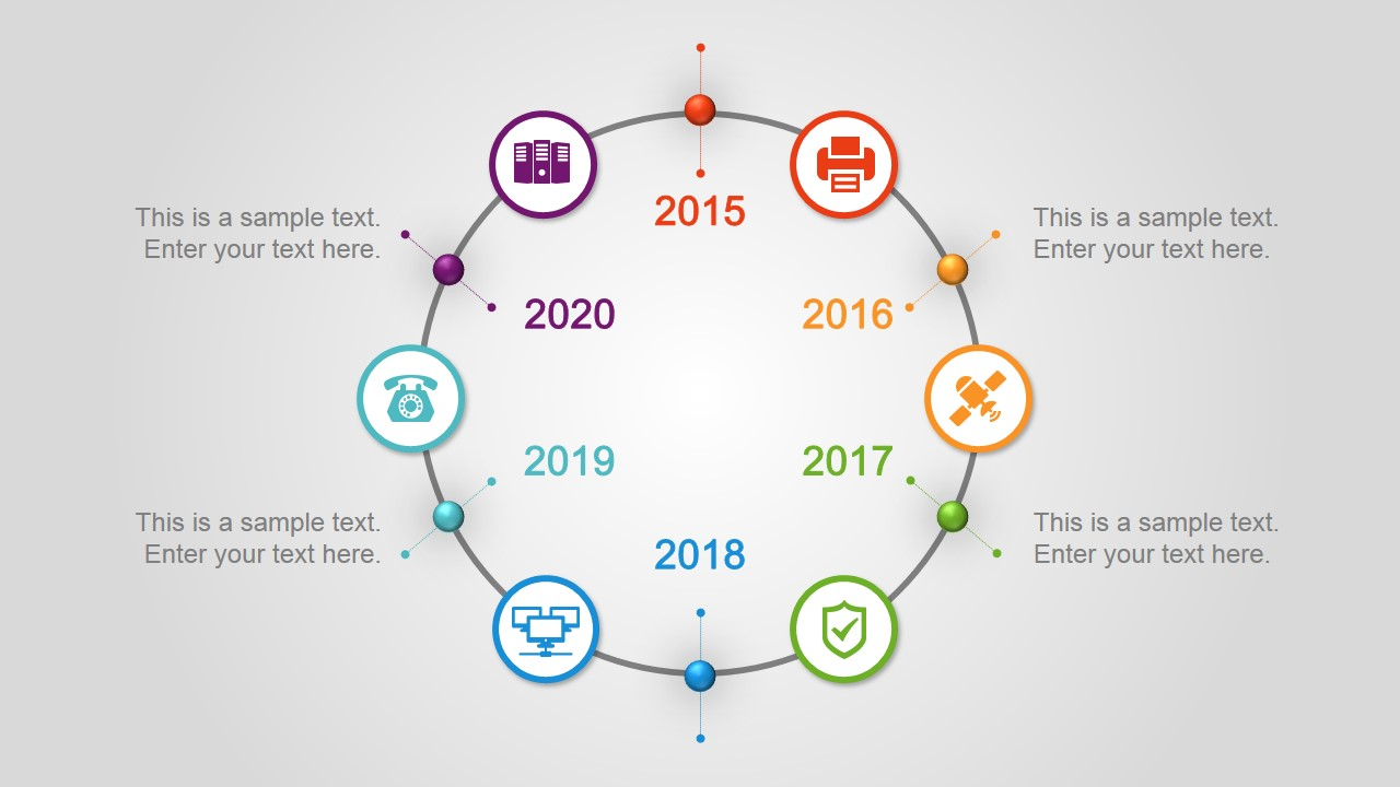 6 Step Circular Timeline Design for PowerPoint - SlideModel