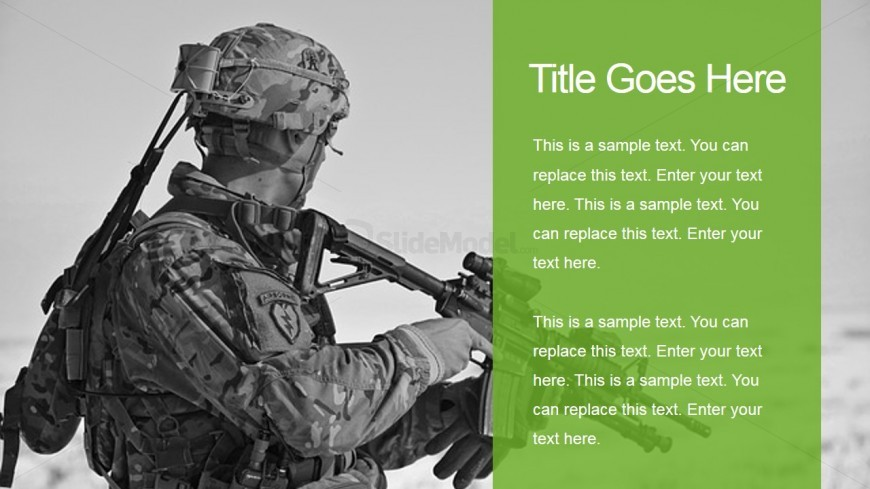 Military Two Tiles Slide With Soldier Background Slidemodel