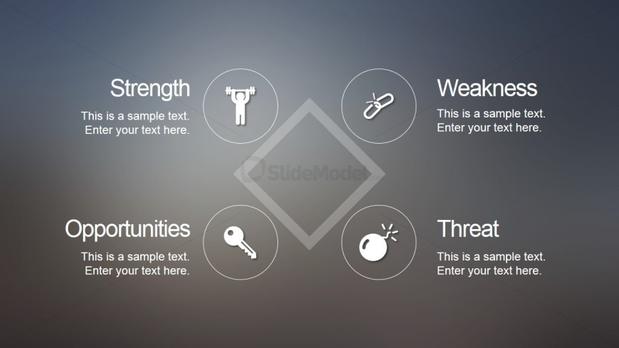 Simple SWOT PowerPoint Slide with Blur Style