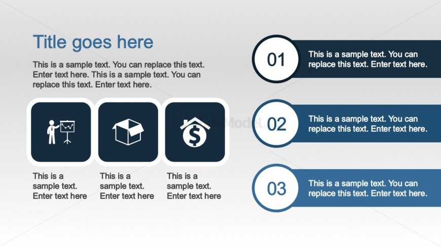 PPT Icons in Three Steps Diagram