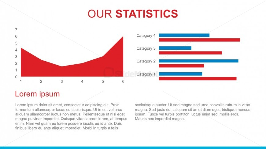 4 Categories Statistics Report For PowerPoint Template