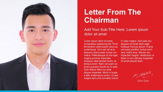 Letter From the Chairman PowerPoint Template