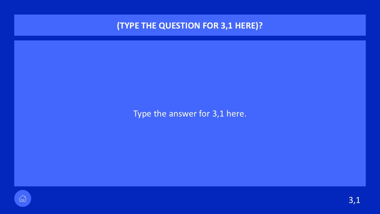 powerpoint questions and answers template - jeopardy game powerpoint templates