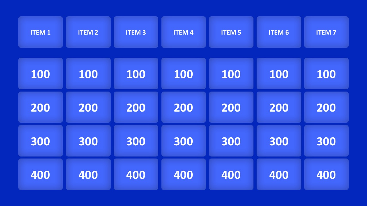 Jeopardy game powerpoint templates jeopardy game show powerpoint template game show question slide template pronofoot35fo Image collections