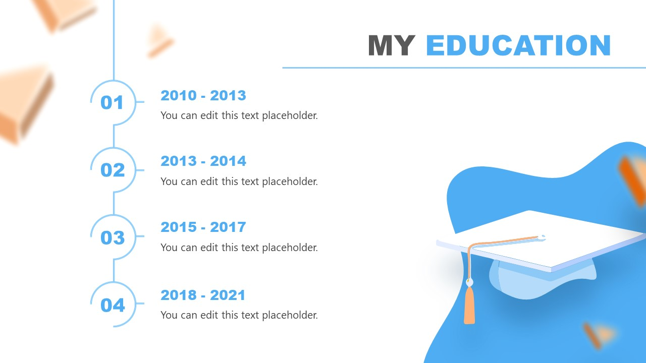 Slide of Education Timeline Resume PowerPoint Template