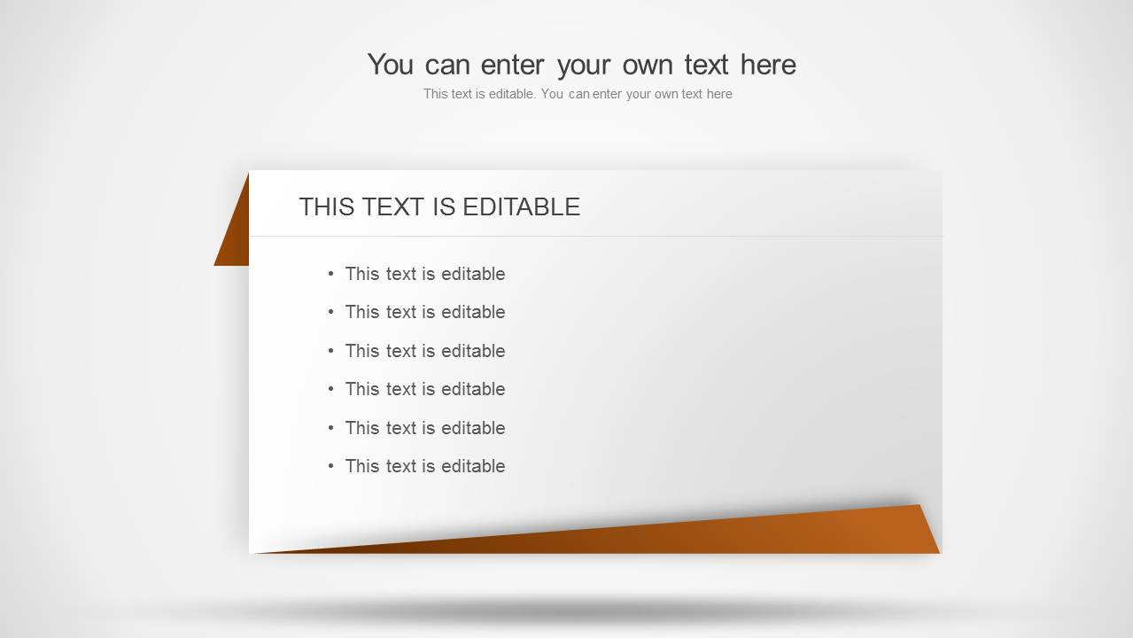 Wide version of the individual text table for PowerPoint with space for content and title