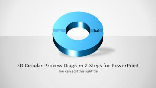 3D Circular Process Diagram 2 Steps for PowerPoint