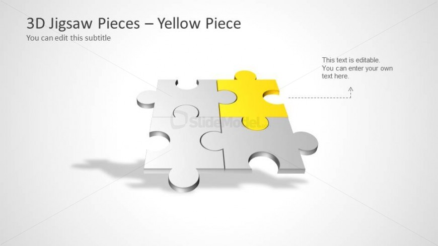 Four Puzzle Piece Template for PowerPoint – Yellow Piece