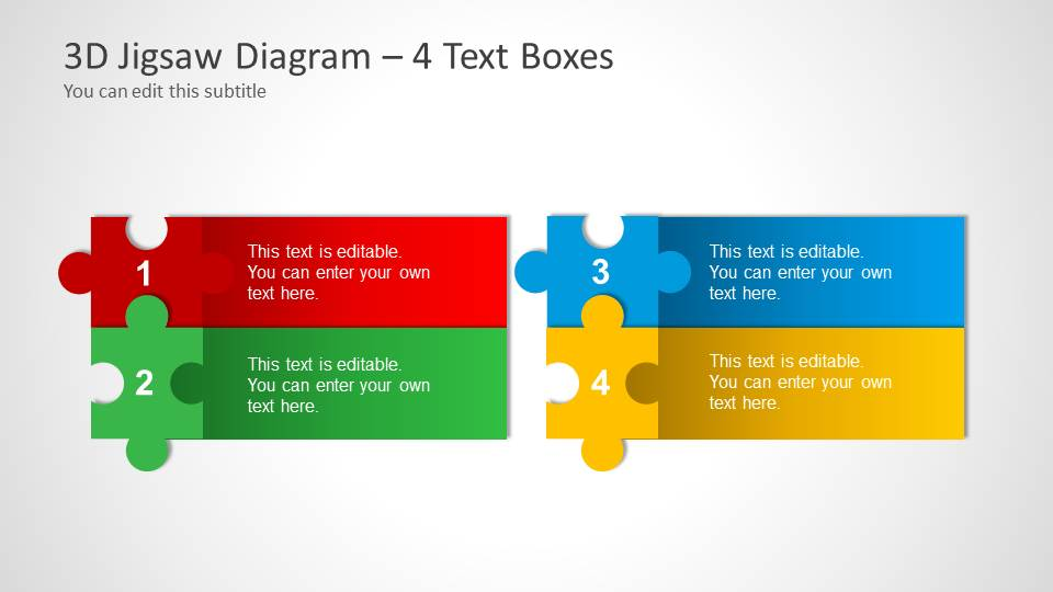 3d jigsaw piece shapes for powerpoint slidemodel 4 puzzle pieces layout template for powerpoint toneelgroepblik Image collections