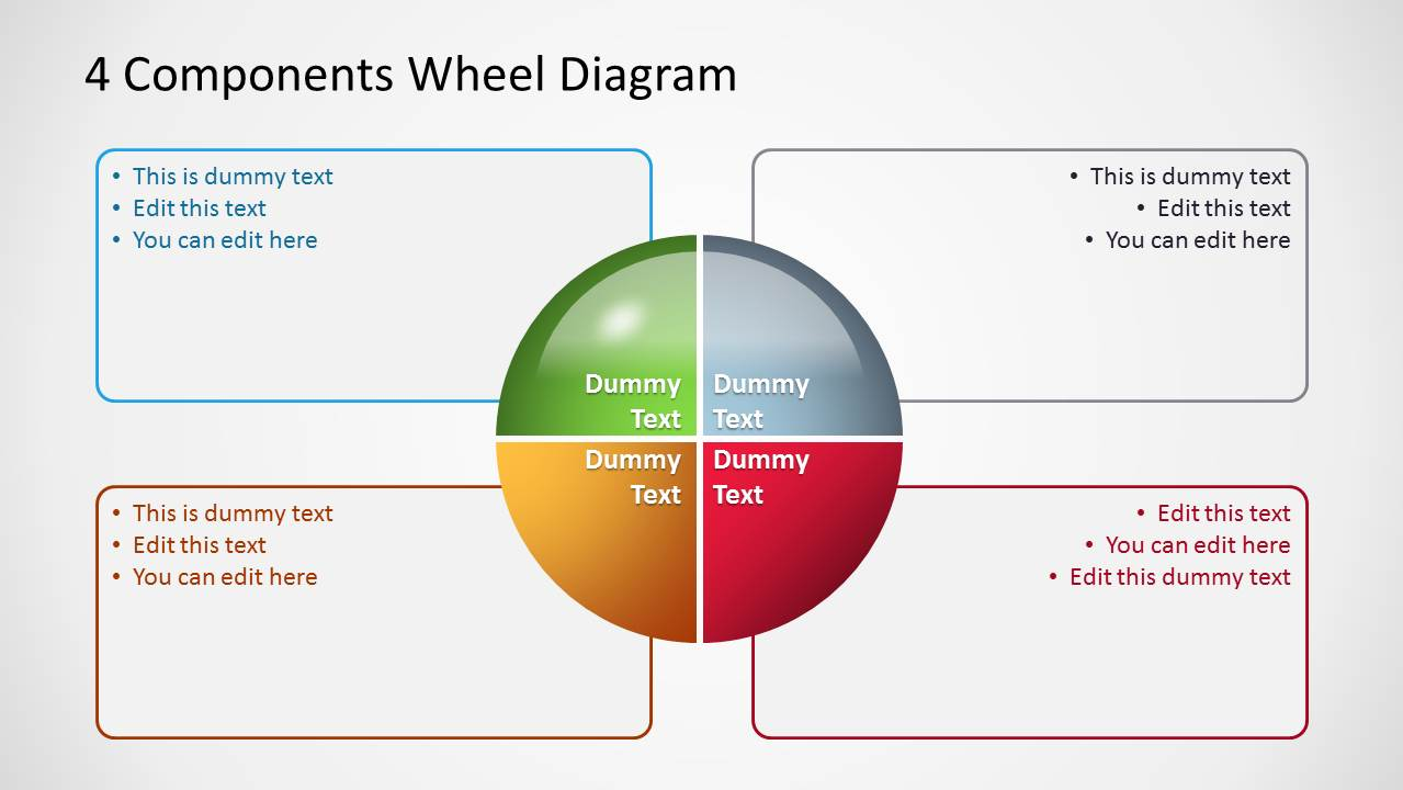4 components wheel diagrams for powerpoint slidemodel rh slidemodel com Wheel Graphics for PowerPoint Multi-Level Segmented Wheel PowerPoint Template
