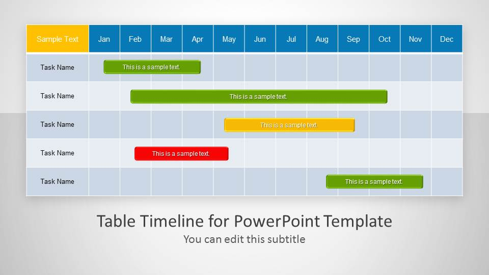 Table Timeline Template For PowerPoint SlideModel - Powerpoint timeline templates