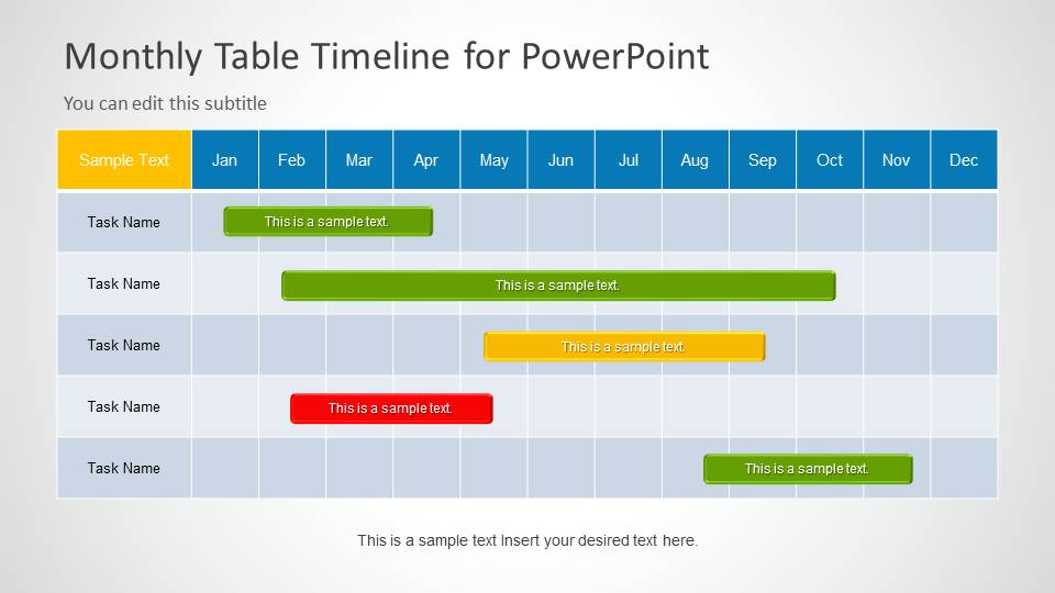 Monthly timeline slide design for powerpoint slidemodel toneelgroepblik
