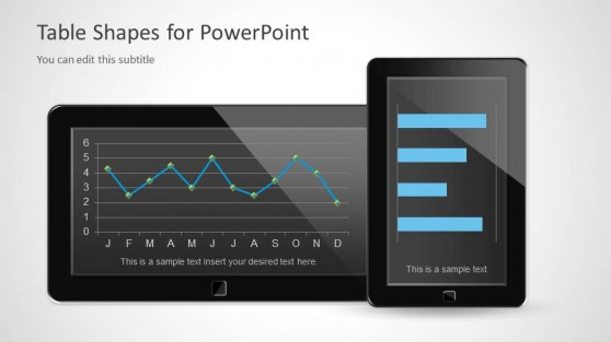 Two Tablets in the Slide Design for PowerPoint