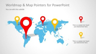 World Map PowerPoint Slide Design with Map Pointers