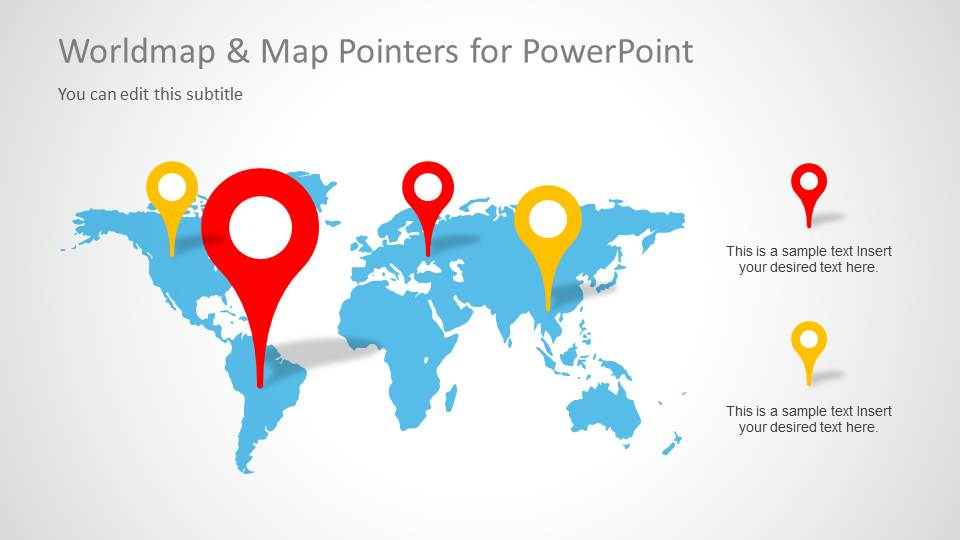 Powerpoint Global Map.Worldmap Map Pointers For Powerpoint Slidemodel