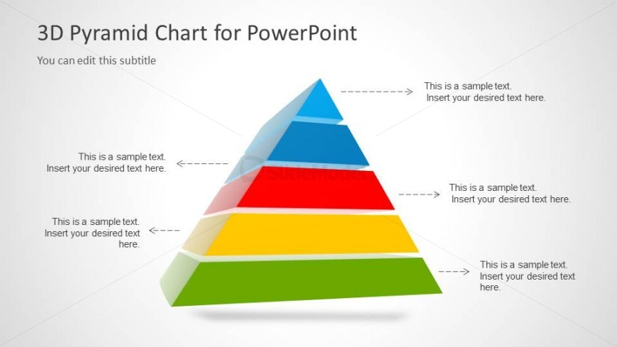3D Segmented Pyramid Chart with 5 Steps