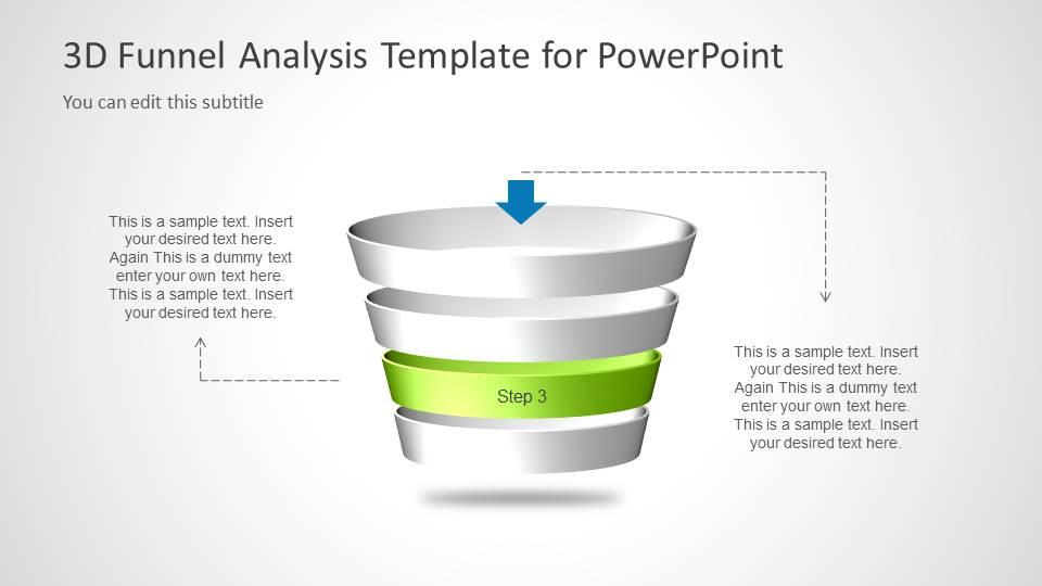 Multi Step 3D Funnel Analysis Diagram - Step 3