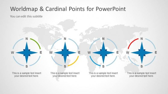 World Map Illustration & Cardinal Points Clipart