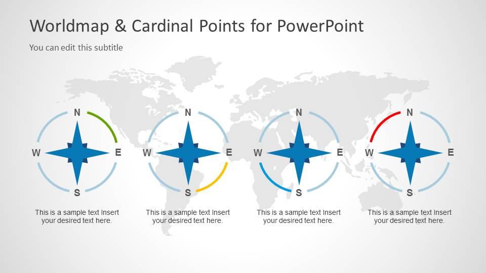 World Map Illustration & Cardinal Points Clipart