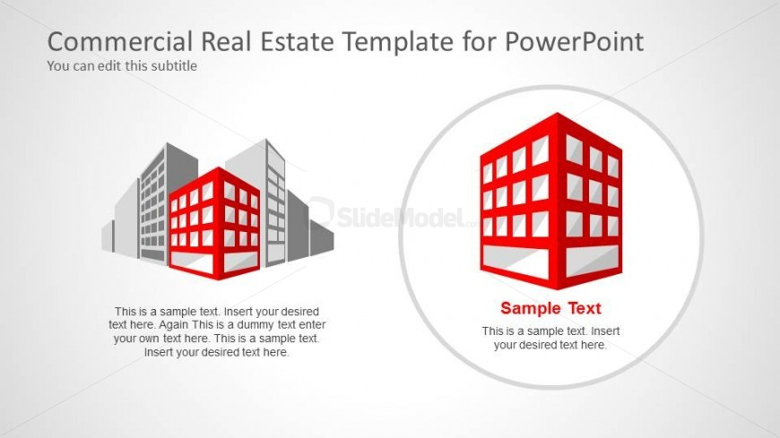 Two Buildings Clipart Highlight for PowerPoint