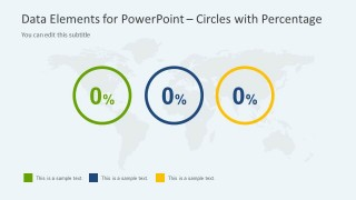 3 KPI Indicators over a World Map for PowerPoint