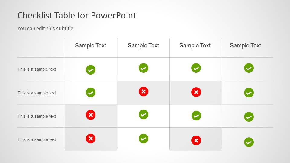 Checklist Tables for PowerPoint - SlideModel