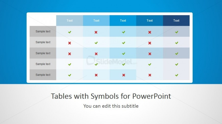 Tick Icons Table Template with Symbols